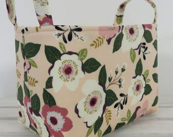 Storage Fabric Organizer Bin Container Basket - Cream Dusty Mauve Pink Flowers Floral on Peach Light Pink Fabric
