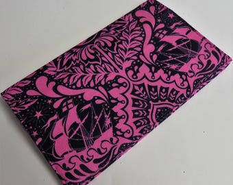 Checkbook Cover Case Cheque Coupons Receipts Check Book Money Holder - Pink Swirls on Dark Fabric