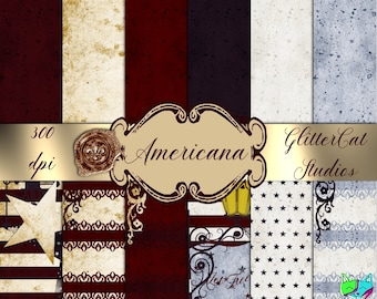 Americana 8.5 x 11 red white blue digital printable july 4 papers; stars & stripes papers; celebrate American digital scrapbook papers