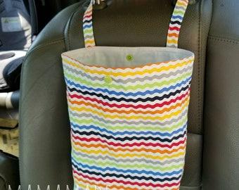 Auto Trash Bag | Car Trash Bag - Rainbow Stripe - green by mamamade | Car Accessories | Car Garbage Bag | Car Organizer and Storage