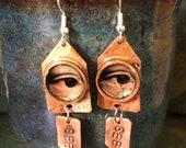 Custom Listing For VintageDarlene - Eye See Copper Earrings