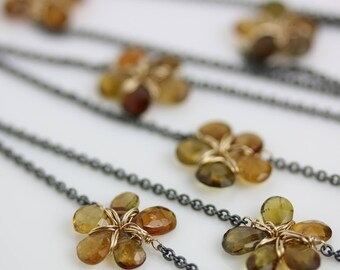 Brown Tourmaline Flower Necklace. Long Necklace of Tourmaline Gold Fill and Oxidized Silver Chain. Can Be Doubled.