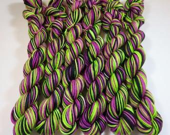 Hand Painted Superwash Merino/Nylon 4-Ply Sock Yarn Mini Skeins (20grams/92yards) -- Frankenstein (Striping)