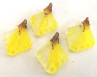vintage glass drops (4) yellow beads charms Czech  Art Deco Perfect for earrings include bails givre swirl (4)