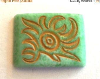 SALE 15% off Vintage glass cab (1) Here Comes The Sun Jade jadeite green carved stone etched  motif  flatback 24 x 18mm (1)
