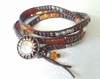 It's a Wrap - Carnelian, Amber and Seed Bead Beadwoven Wrap Bracelet