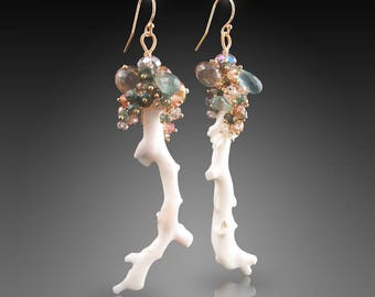 Natural Curiosities: 14K White Coral Earrings with Green Sapphire, Moss Aquamarine, Peach-Champagne Zircon, Mystic Champagne Quartz