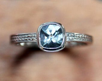 Natural aquamarine ring, cushion cut ring, white gold ring, braided engagement ring, ready to ship size 5