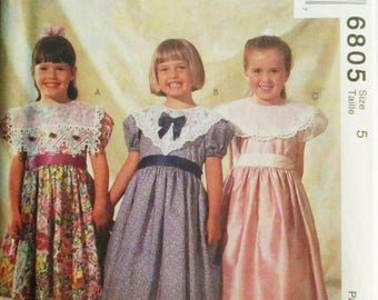 60% OFF SALE Childs Sewing Pattern McCalls 6805 Childrens Dress Pattern Size 5 Uncut