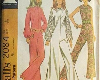 60% OFF SALE 1960s Vintage Sewing Pattern McCalls 2084 Misses Pantdress Pattern Size 8 Bust 31 1/2