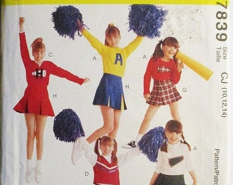 30% OFF SALE 1990s Vintage Sewing Pattern McCalls 7839 Girls Cheerleading Costumes Pattern Size 10, 12, 14 Uncut