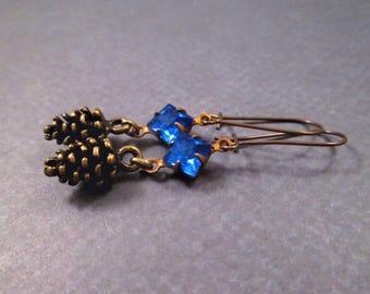 Pine Cone Earrings, Brass Pinecone Charms, Royal Blue Glass Rhinestones, Dangle Earrings, FREE Shipping U.S.