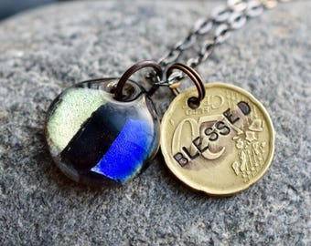 Dichroic Glass Pendant Boro Lampwork Stamped Coin Necklace - Blessed