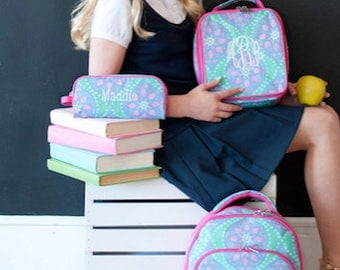 Monogram backpack - back to school - monogram backpack for girls - hair bow -  backpack and lunch bag set - lunch box - pencil box - Marlee