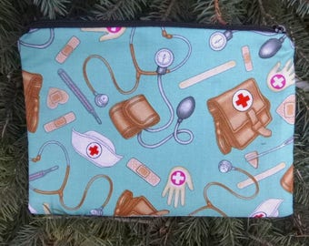 Nurses make up bag, makeup case, accessory bag, zippered pouch, zippered bag, Love For Nurses, The Scooter