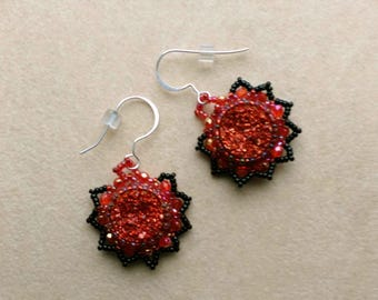 Christmas Red & Black Druzy Earrings, Crystal Beadwoven Earrings, Sterling Silver French Ear Wire, Lace Embroidery - Druzy by enchantedbeads