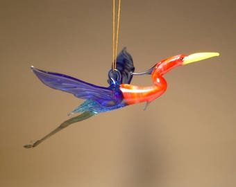 Blown Glass Figurine Bird Hanging Blue and Red HERON Ornament