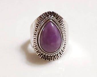 Sale: Sterling Silver Ring of Purple Phosphosiderite Size 8