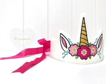 ITH In The Hoop Unicorn Crown Tiara Machine Embroidery File design 6x10 hoop - Party Crown