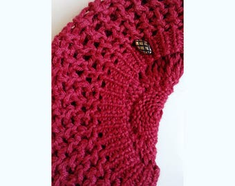 SAMPLE SALE Size LGE Hand Knit Baby Alpaca and Silk Hat, Beret/Tam in Raspberry, Slouch, Beanie, Chunky, Woolly, Warm, Winter, Toque, Navy