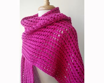 Chunky Lace Cotton Hand Knit Shawl in PINK, Wrap, Berry, Bright, Warm, Made in New York, Scarf, Natural, Open, Lightweight, Soft