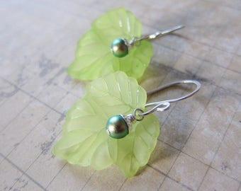 Harvest Bower - Lightweight Lucite Leaf Earrings in Green