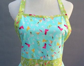 Ladies Apron with Sweetheart Neckline Lovely Martini Fabric