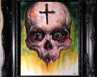 Untitled #2 - Original Drawing - Dark Art Horror Skull Zombie Death Cross Blood Macabre Gothic Teeth Curio Lowbrow Monster Creepy Scary