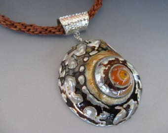 Sarmaticus Shell Fine Silver Brown Leather Kumihimo Braid Necklace