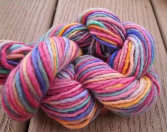 Handpainted Yarn Wool 71yards Worsted Weight Knitting Aspenmoonarts Hand Painted Purple Blue Gold Magenta C011C Felting