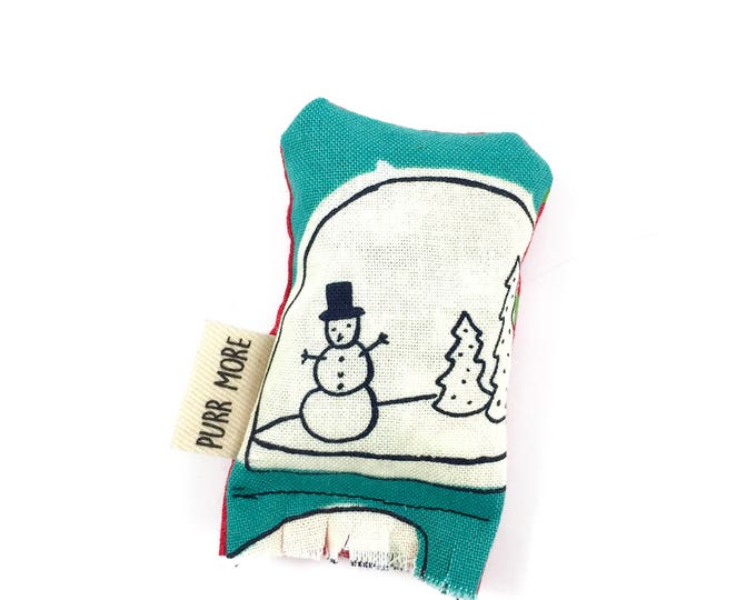 Featured listing image: Snowman Snowglobe Green Bean Organic Eco Friendly Catnip Cat Toy For Mew, Gift For Cat Lover