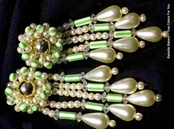 Estate Pearls Vintage Wedding Earrings Long Shoulder Duster BurLesque Hollywood Marilyn Statement Estate VLV Mod Teardrops Bold Lime Glass