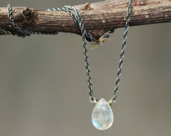 Tiny teardrop cabochon moonstone pendant necklace and oxidized sterling silver chain
