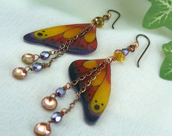 Butterfly Wing Earrings ~ Yellow Butterfly Earrings ~ Colorful Butterfly Wings ~ Butterfly Jewelry ~ Butterfly Wing Jewelry ~ Shrink Plastic