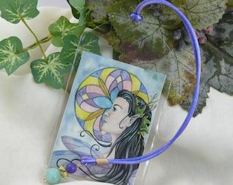 Fairy Bookmark ~ Fantasy Art Bookmark ~ Fantasy Bookmark ~ Fairy Art ~ Fairy Art Print ~ Watercolor Fairy ~ Ribbon Bookmark ~Beaded bookmark