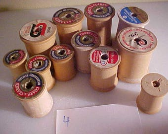 lot of 12 vintage Wooden Sewing Spools #4