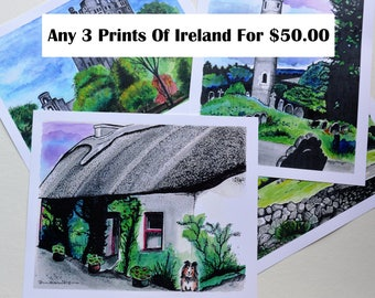 SALE, Handmade, Irish Watercolors, Prints of Ireland, Irish Paintings, Thatched Cottage, Ring of Kerry, Blarney Castle, St Kevens, Dublin