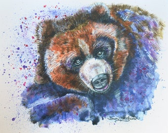 Colorado Bear, Bear Watercolor, Bear Art, Bear Painting, Bear Print, Cheyene Mountain Zoo, Grizzly Bear Art, Colorado, Animals, Wildlife Art