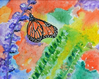ORIGINAL Watercolor, Butterfly Painting, Monarch Butterfly, Watercolor Butterfly, Bold Colors, Wildlife Art, Original Floral, Flowers, Art