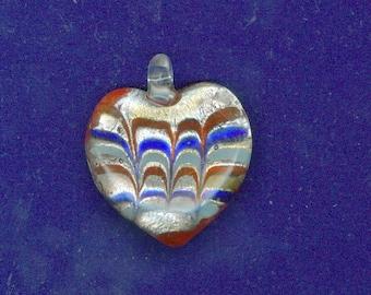 Heart Lampwork Pendant, 35mm Red White Blue Heart Lampwork Focal Foil Pendant 1104