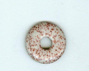 PI DAY SALE Gray Focal Donut, 35mm Gray with Red Spot Tiger Jasper Gemstone Pi Donut Focal Pendant 392