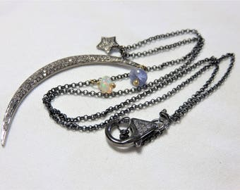 """Oxidized Sterling Silver Diamonds """"Big Moon"""", Diamond Star and Lobster Clasp, Oxidized Sterling Silver Chain and 22K Vermeil Gold Necklace"""