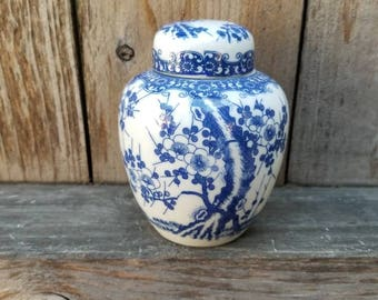 Cherry Tree Patterned Blue and White Japanese Ginger Jar