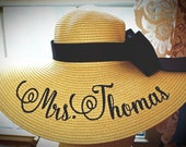 Personalized Floppy Hat Mrs Hat Name Hat Honeymoon Bridal Hat Floppy Straw Natural Wedding, or Bridesmaids, Beach, Derby, Cup Race