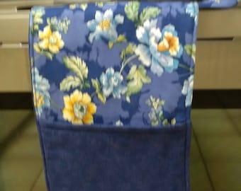 Handmade Double Oven Cassrole Mitt Blue Floral  Hot Pad Hot Pot Holder Trivet Gift