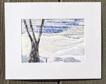 Snow Landscape - Fabric Postcard - Landscape Art - Outdoor Landscape - Nature Art - Quilt Postcard - Winter Snow Storm - Winter Landscape
