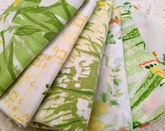 Set of 6 Vintage Pillowcases - Greens and Yellow - Single Pillowcases 1970s