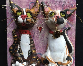 Valentine's Day Cat Art - OOAK Valentine Cat Art - Mixed Media Cat Painting with Polymer Clay Cat - Gift for Cat Lover - Cat Gift
