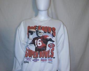 Closing Shop 40%off SALE JOE MONTANA Sweatshirt, San Francisco 49ers sweatshirt, Vintage 80s Joe Montana Shirt