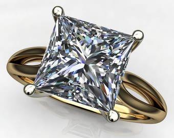 victoria ring - 2.5 carat princess cut NEO moissanite engagement ring, two tone ring